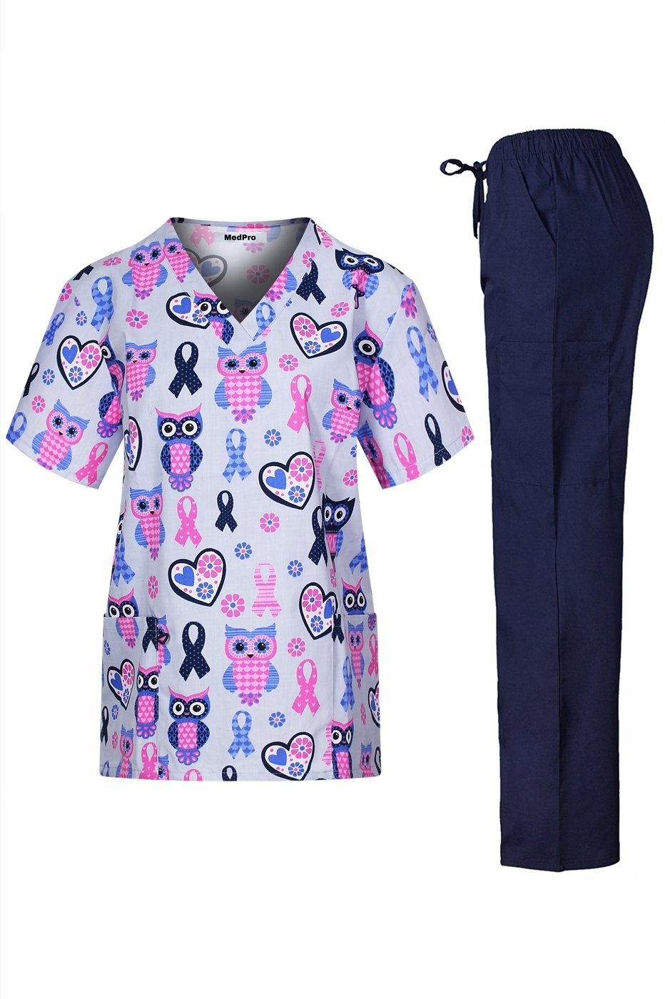 MedPro Women's Medical Scrub Set with V Neck Top and Cargo Pants Light Blue Navy L