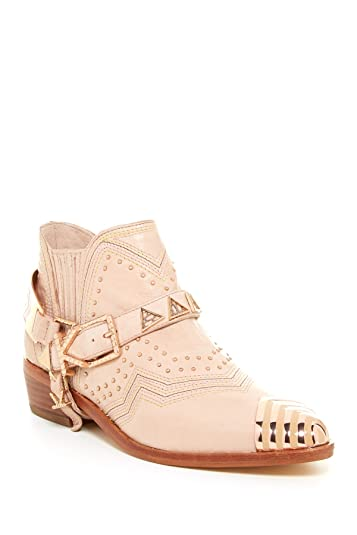 d4f1f6ca0f360 Ivy Kirzhner Santa Fe Embellished Nude Leather Pointed Toe Wetern Ankle Boot  (6)