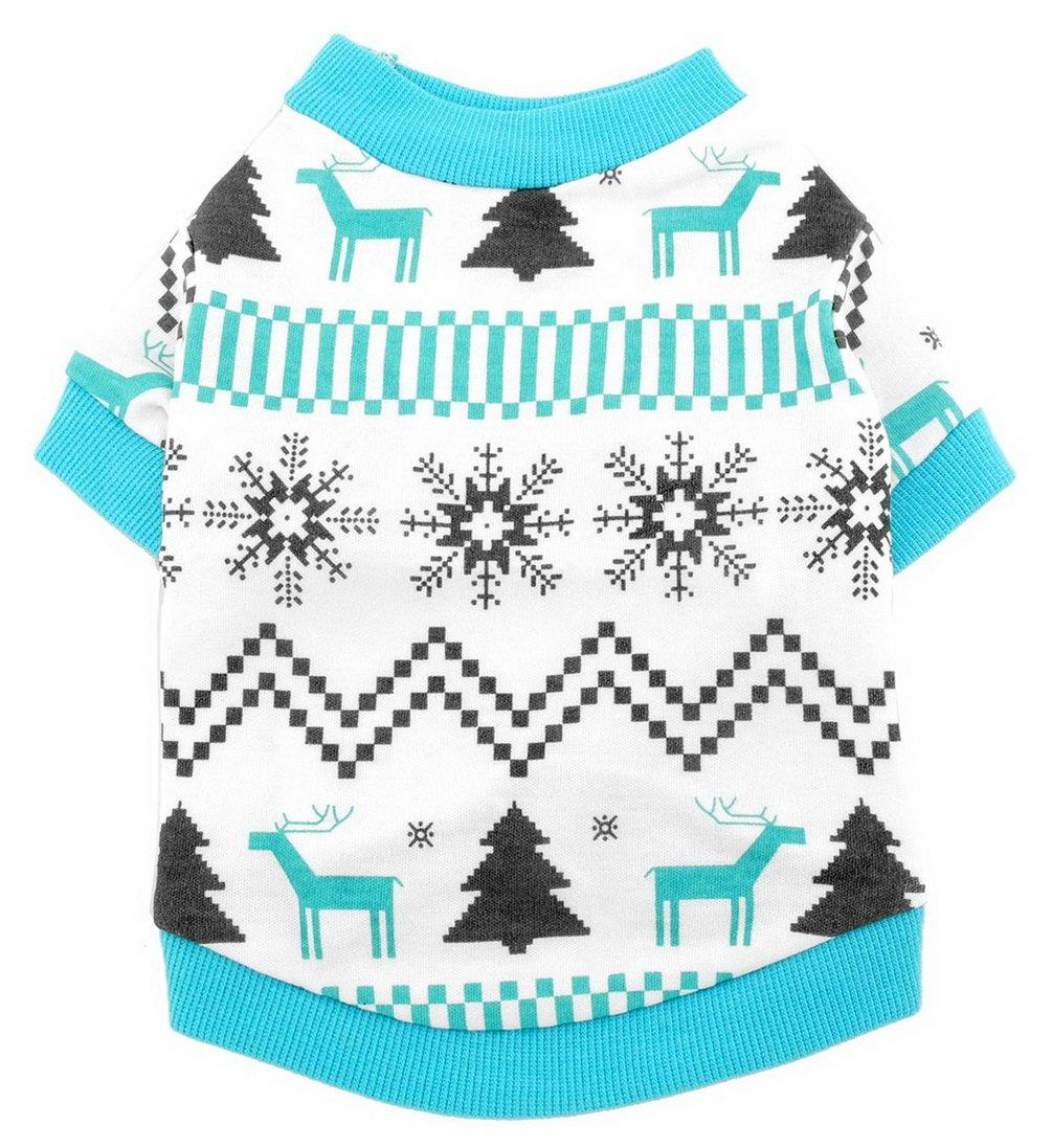 Smalllee _ Lucky _ Ranger pour animal domestique Vêtements pour petit chien chat 100% coton T-shirt pour homme Imprimé Renne de Noël Style Bleu SMALLLEE_LUCKY_STORE