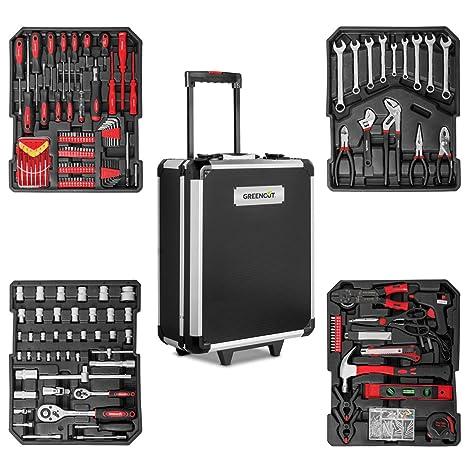 Greencut TOOLS-819 - Set de herramientas (819 piezas), maletín de aluminio con ruedas, trolley con asa telescópica, herramientas de acero cromo ...