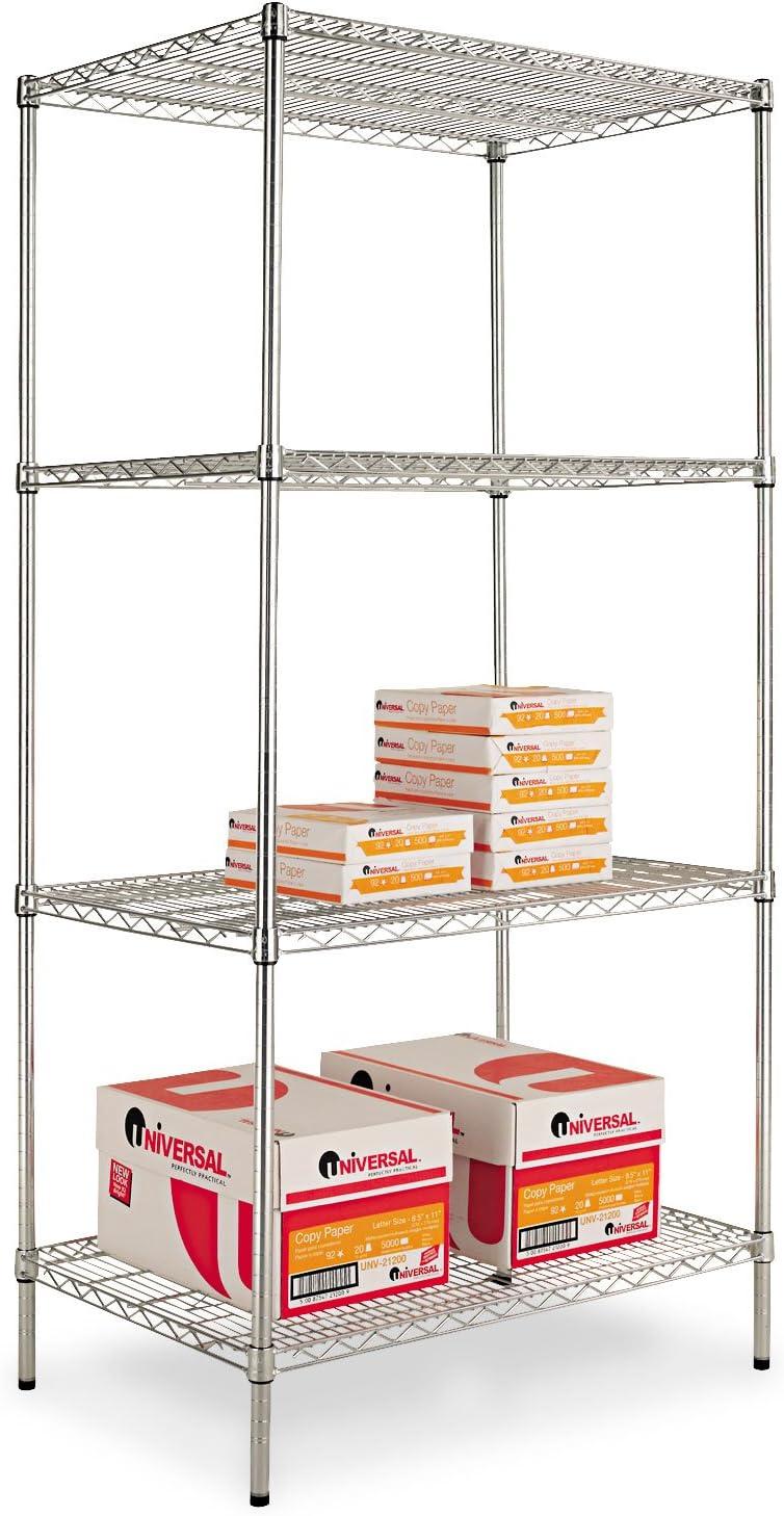 Alera SW503624SR Wire Shelving Starter Kit, 4 Shelves, 36w x 24d x 72h, Silver