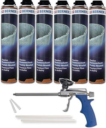 Berner - Espuma para pozos (poliuretano y poliuretano, 750 ml, incluye pistola Berner Pu, 6 unidades) Mejor calidad para el uso dura*****: Amazon.es: Bricolaje y herramientas