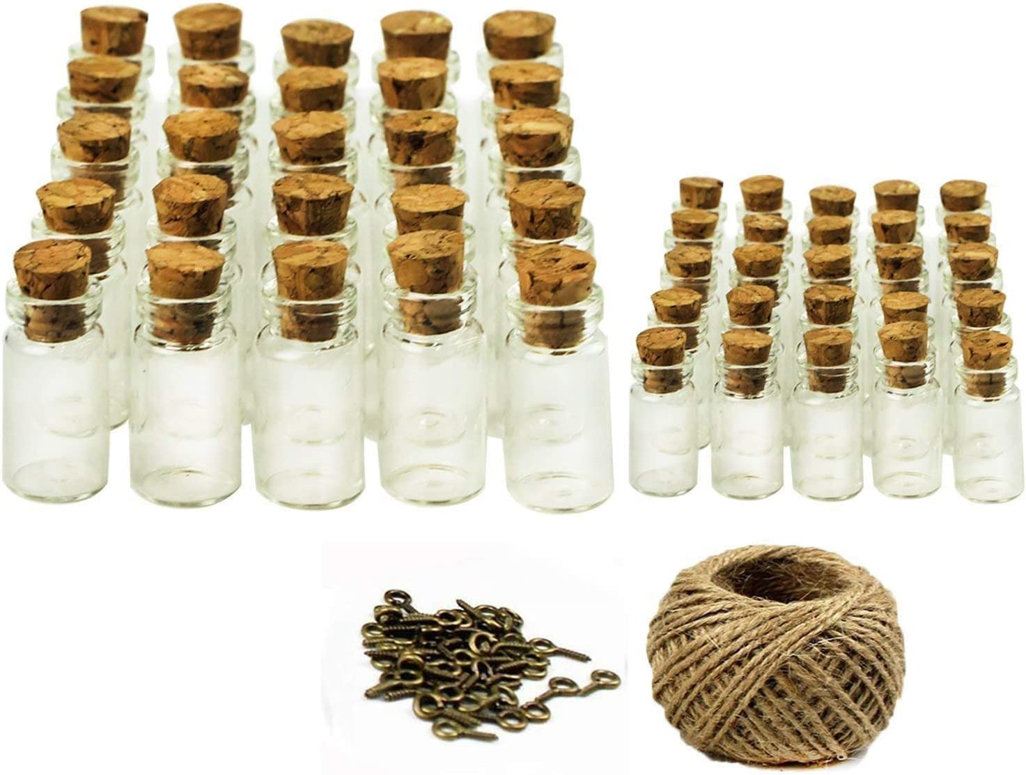 Glass Favor Canister Treat Storage Jar Bottle Container with Cork StopperClear