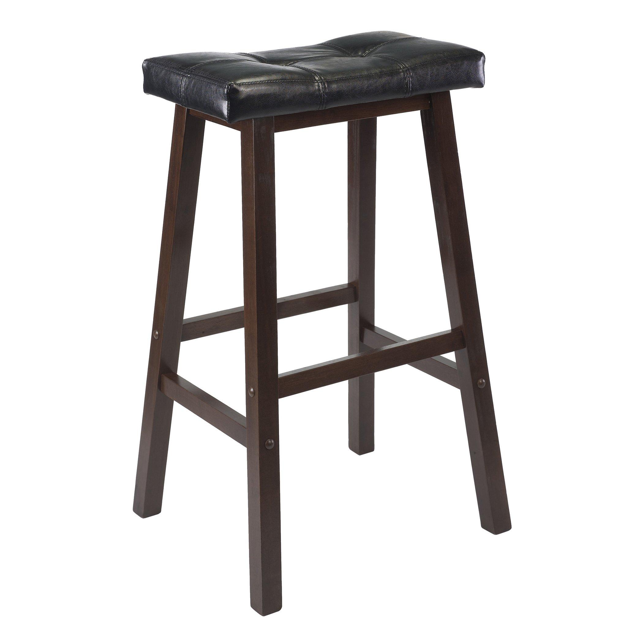 Winsome Mona 29-Inch Cushion Saddle Seat Stool, Black, Faux Leather, RTA