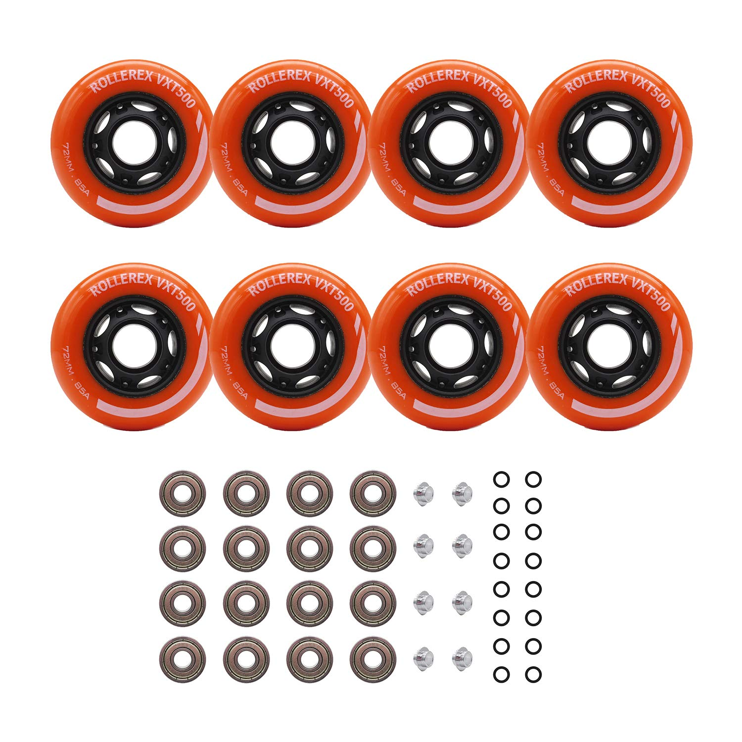 Rollerex Inline Skate/Rollerblade Wheels VXT500 80mm (8-Pack or 2-Pack or 2 Wheels w/Bearings, Spacers and Washers) (72mm Sunrise Orange (8 Wheels w/Bearings, spacers and washers))