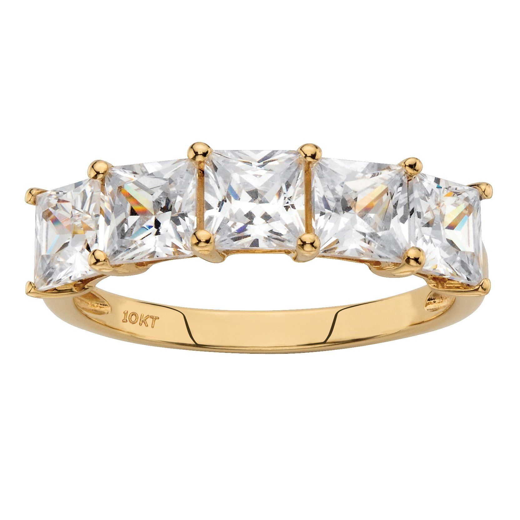 Solid 10k Yellow Gold Princess Cut Yellow Cubic Zirconia Ring Size 7