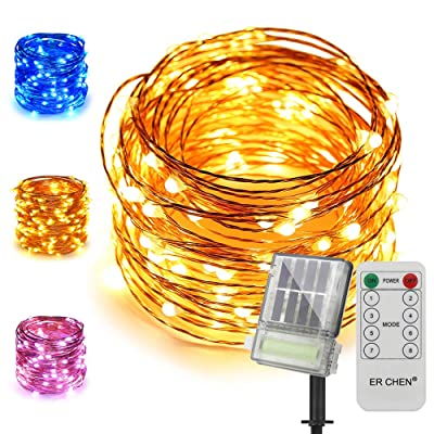 ER CHEN Solar String Lights with Backup Battery, 100 LED Solar Fairy Lights with Remote, 33 ft 8 Modes Color Changing Waterproof Outdoor String Lights for Garden, Patio, Yard (Warm White&Blue) : Garden & Outdoor