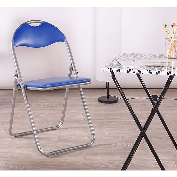 Juego de 6 sillas plegables multiusos PVC azul metal