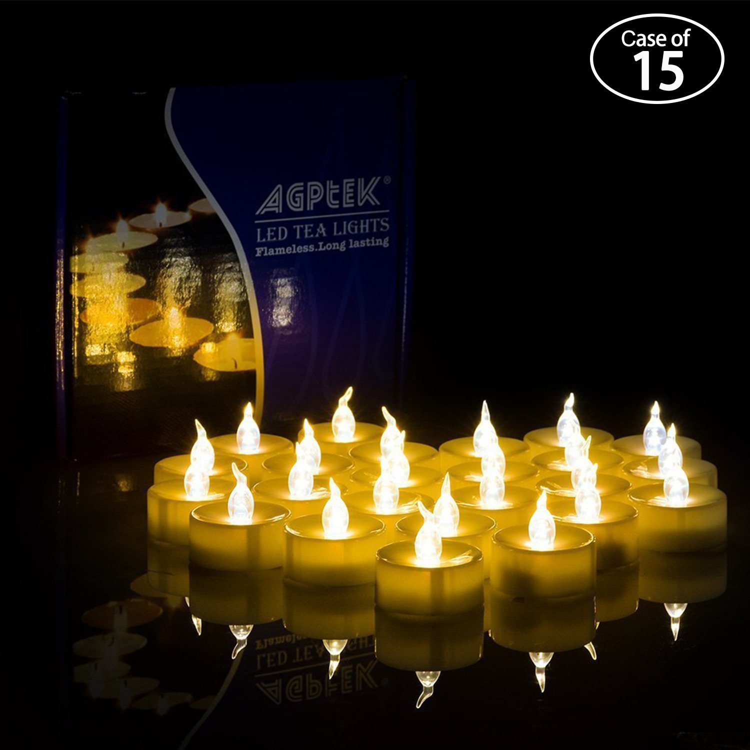AGPTEK Case of 15, Lot 100 Battery Operated LED Flameless Flickering Flashing Tea Light Candle - Amber Yellow