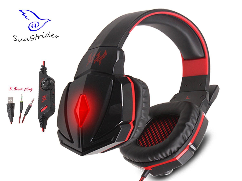 KOTION EACH G4000C estéreo sobre el oído Gaming Auriculares Gaming Headset Headband con micrófono y control de volumen para PC portátil y juego de PC (Negro & Azul)