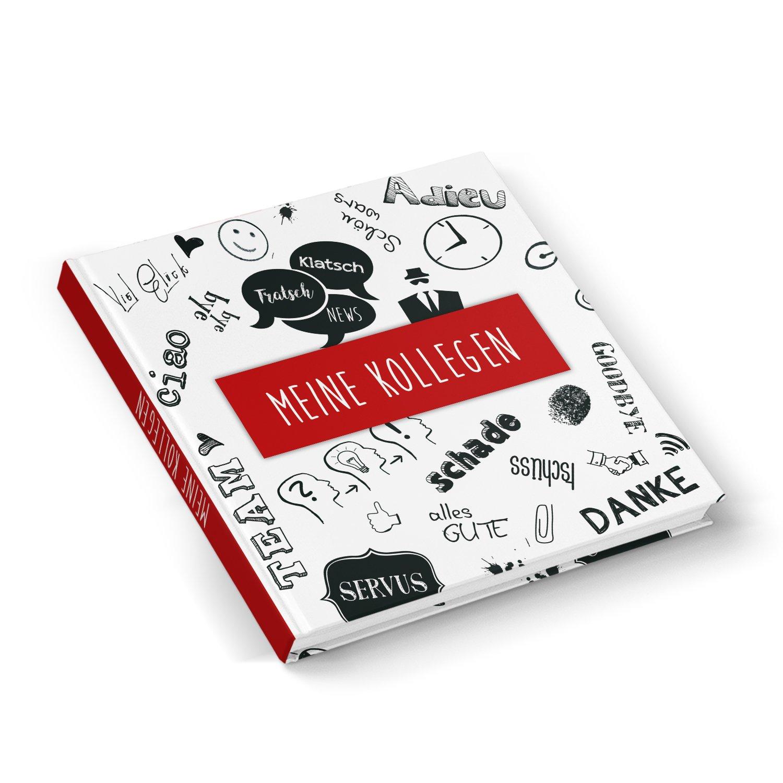 Adieu livre rouge noir blanc collègue livre 21x 21cm Couverture rigide 164pages livre cadeau sur einschreiben personnalisable–Cadeau d'Adieux Changement de Retraite de Pension Job collègue