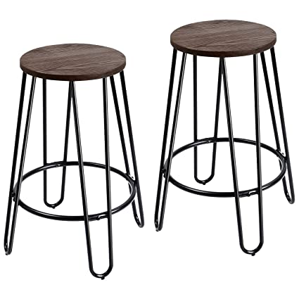 Peachy Furmax 24 Metal Stools Stackable Round Wood Top Backless Metal Indoor Outdoor Counter Height Stackable Bar Stools 2 Pack Machost Co Dining Chair Design Ideas Machostcouk