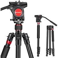 Neewer 2-in-1 Aluminum Alloy Camera Tripod Monopod 70.8 inches/180cm with 1/4 and 3/8 inch Screws Fluid Drag Pan Head…