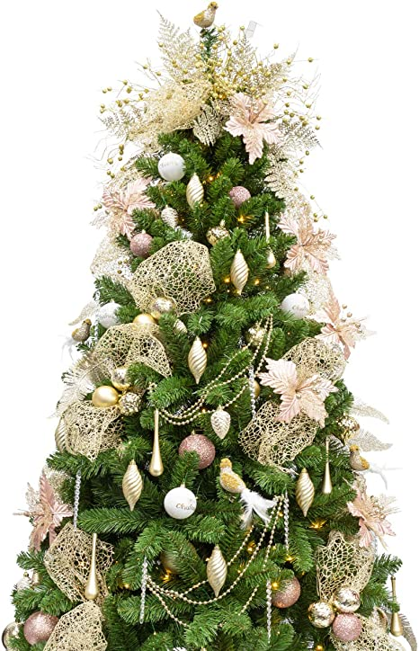 Amazon Com Ki Store 6ft Artificial Christmas Tree With Ornaments And Lights Rose Gold Champagne Christmas Decorations Including 6 Feet Full Tree 114pcs Ornaments 2 Pcs 39ft Usb Mini Led String Lights Kitchen