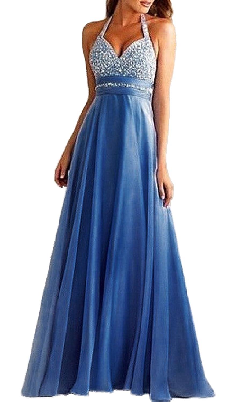 Mocael Damen Kleid Fashion Hohe Taille Strass Lange Kleid Slim ...