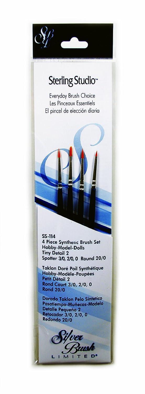 Silver Brush SS-114 Sterling Studio Golden Taklon Short Handle Spotter Per Round Brush Set 4 Per Pack Silver Brush Limited