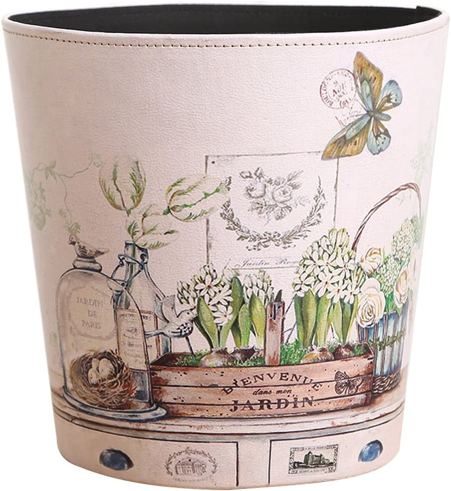 HMANE Wastebasket, British Style PU Leather Round Decorative Trash Bin Garbage Can Wastebasket Without Lid for Living Room Home Office - (As Shown)