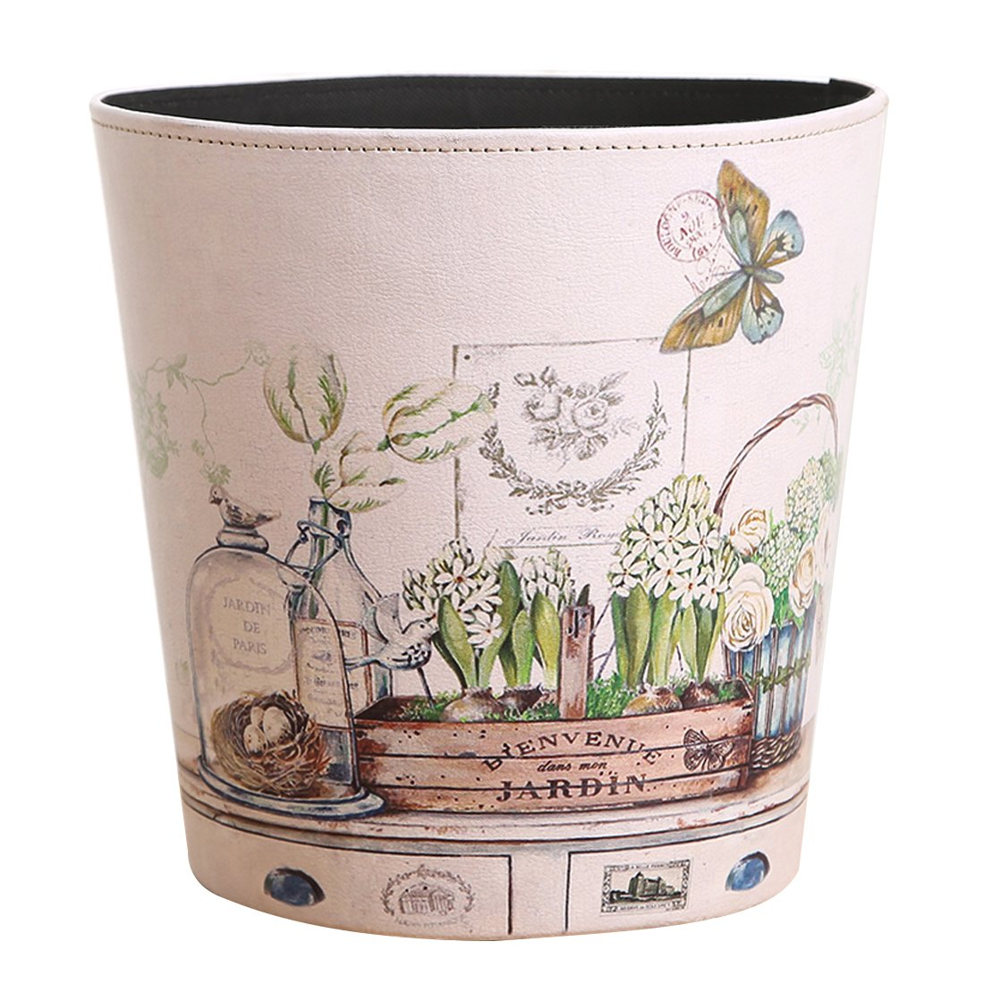 Bedroom Bin, Foxom Retro PU Leather Waste Paper Bin Wastebasket Trash Can Dustbin Garbage Bin for Bedroom, Living Room, Kitchen, Office (Butterfly Pattern)