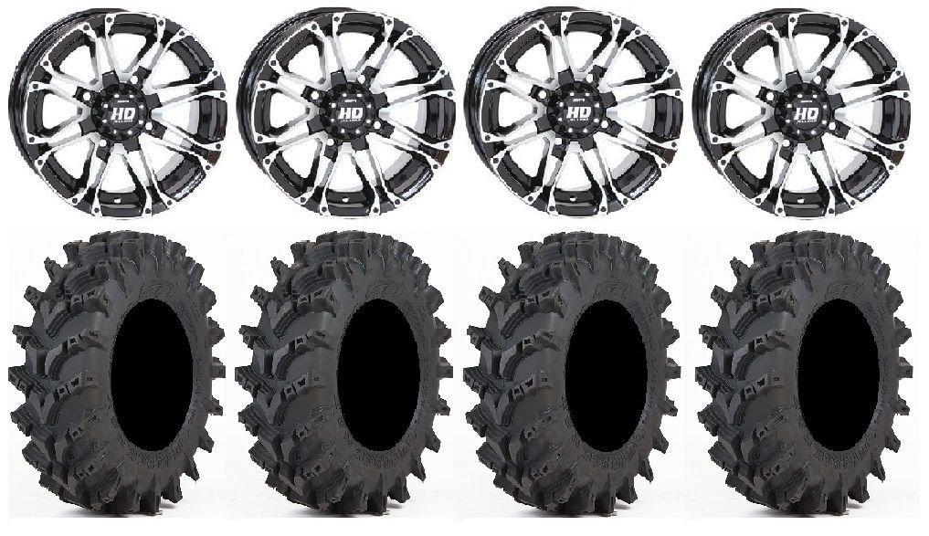 Bundle - 9 Items: STI HD3 14'' Wheels Machined 30'' Outback Max Tires [4x156 Bolt Pattern 12mmx1.5 Lug Kit]