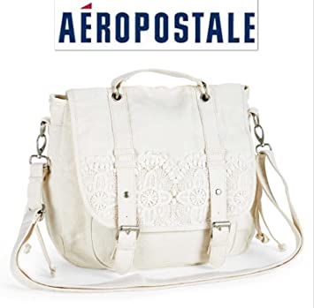 de09f7c62dd5 Aeropostale Crochet Trim Convertible Messenger Bag  Cream  Amazon.ca   Sports   Outdoors