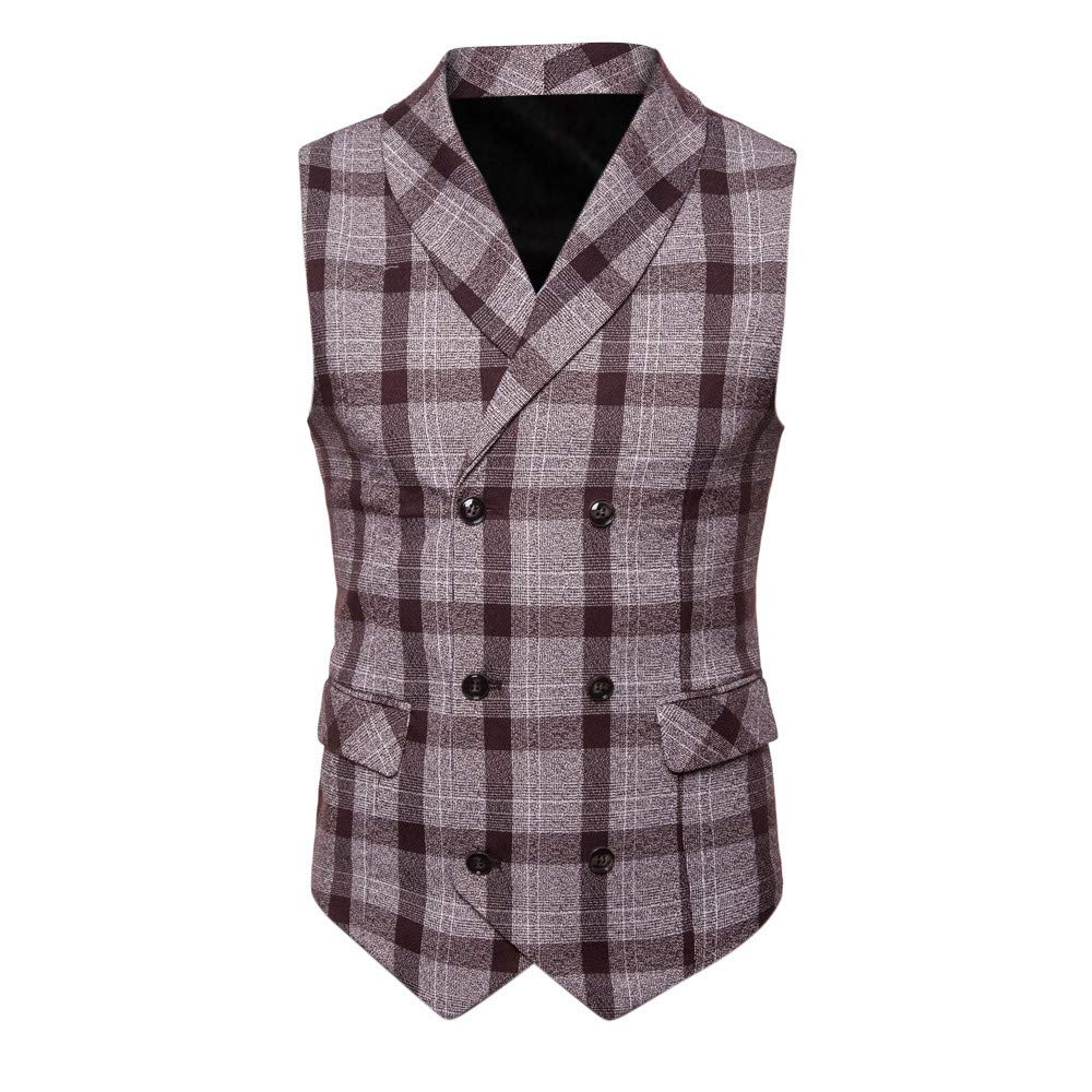 SMALLE ◕‿◕ Clearance,Men Button Casual Print Sleeveless Jacket Coat British Suit Vest Blouse