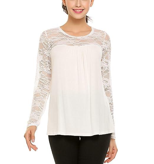 1ef93aec1 Zeagoo Women Lace Patchwork Blouse Cotton Long Sleeve Tunic Tops T-Shirt  Pure White XL