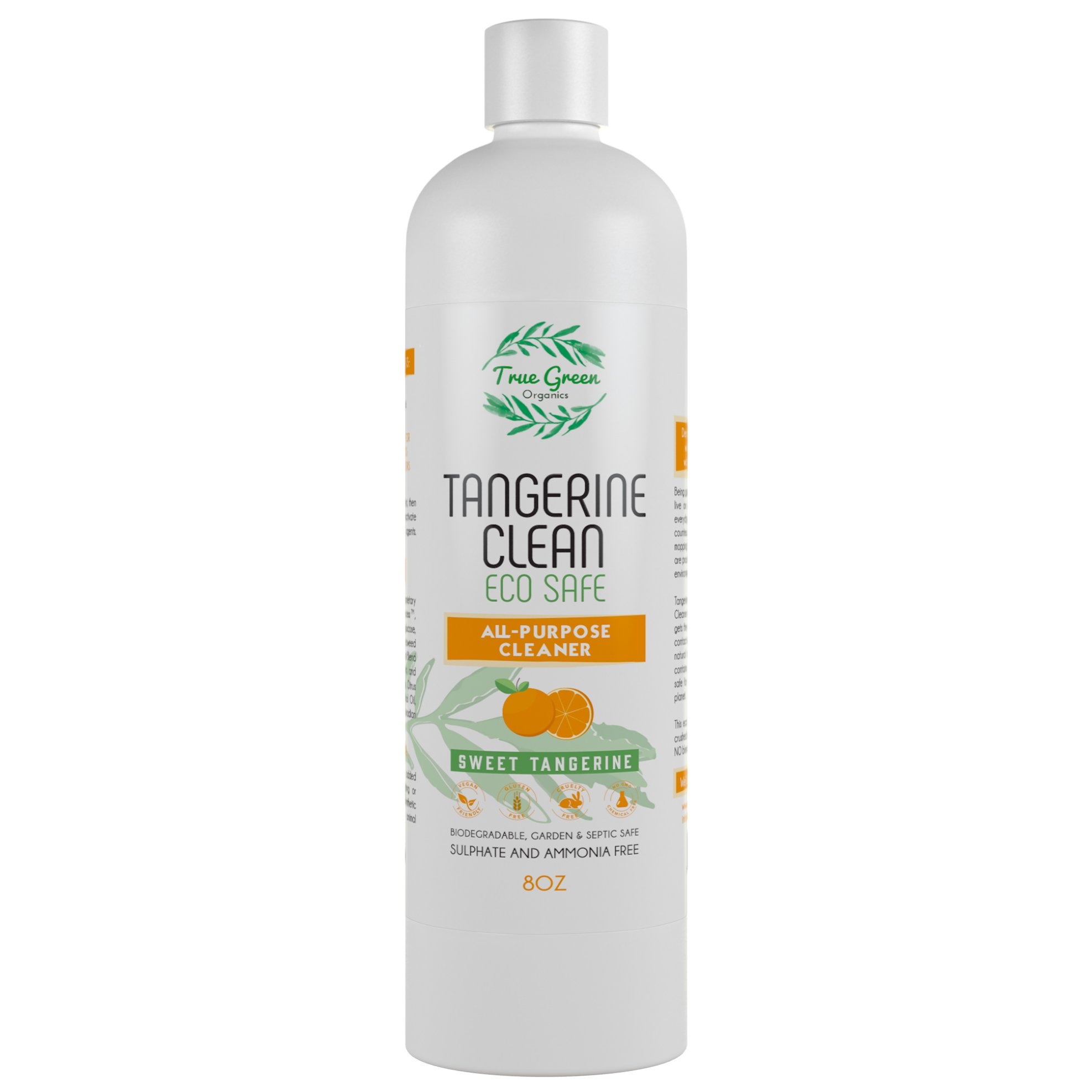 100% Organic All Purpose Cleaner Concentrate by True Green Organics, Non Toxic All Natural Ingredients, Kitchen, Bathroom, Multi Surface Cleaning, Glass, Floors, Window, Tangerine Scent [8 Ounces]