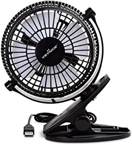 KEYNICE USB Desk Fan, 4 Inch Table Fans, Mini Clip on Fan, Portable Cooling Fan with 2 Speed, USB Powered Stroller Fan, 360° Rotate USB Fan, Personal Quiet Electric Fan for Home Office Camping- Black