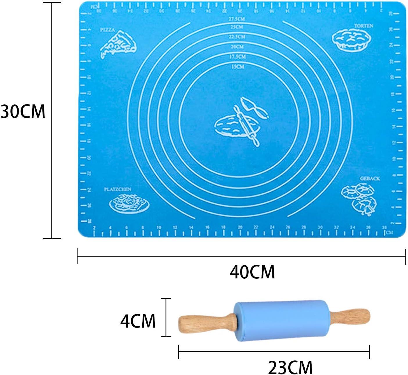GCOA Rodillo Antiadherente Silicona Rolling Pins Mat Azul, Naranja,23cm Ideal para masas y pasteler/ía