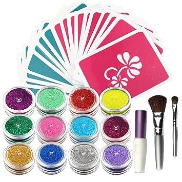 Amazon.com : OPHIR Body Art Glitter Tattoo Kit 12 Color Glitter ...