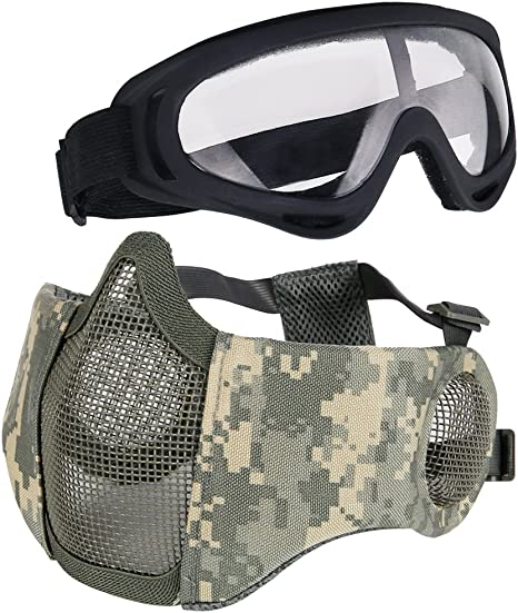 Airsoft Half Face Mesh Mask /& Protective Goggles Combo
