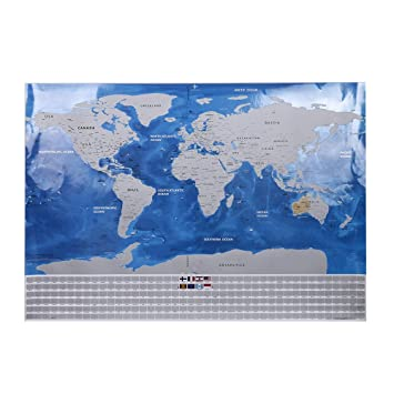 Amazon deluxe travel scratch off world map blue ocean retro amazon deluxe travel scratch off world map blue ocean retro wall sticker diy poster map with flag home decoration kids geography gift office products gumiabroncs Images