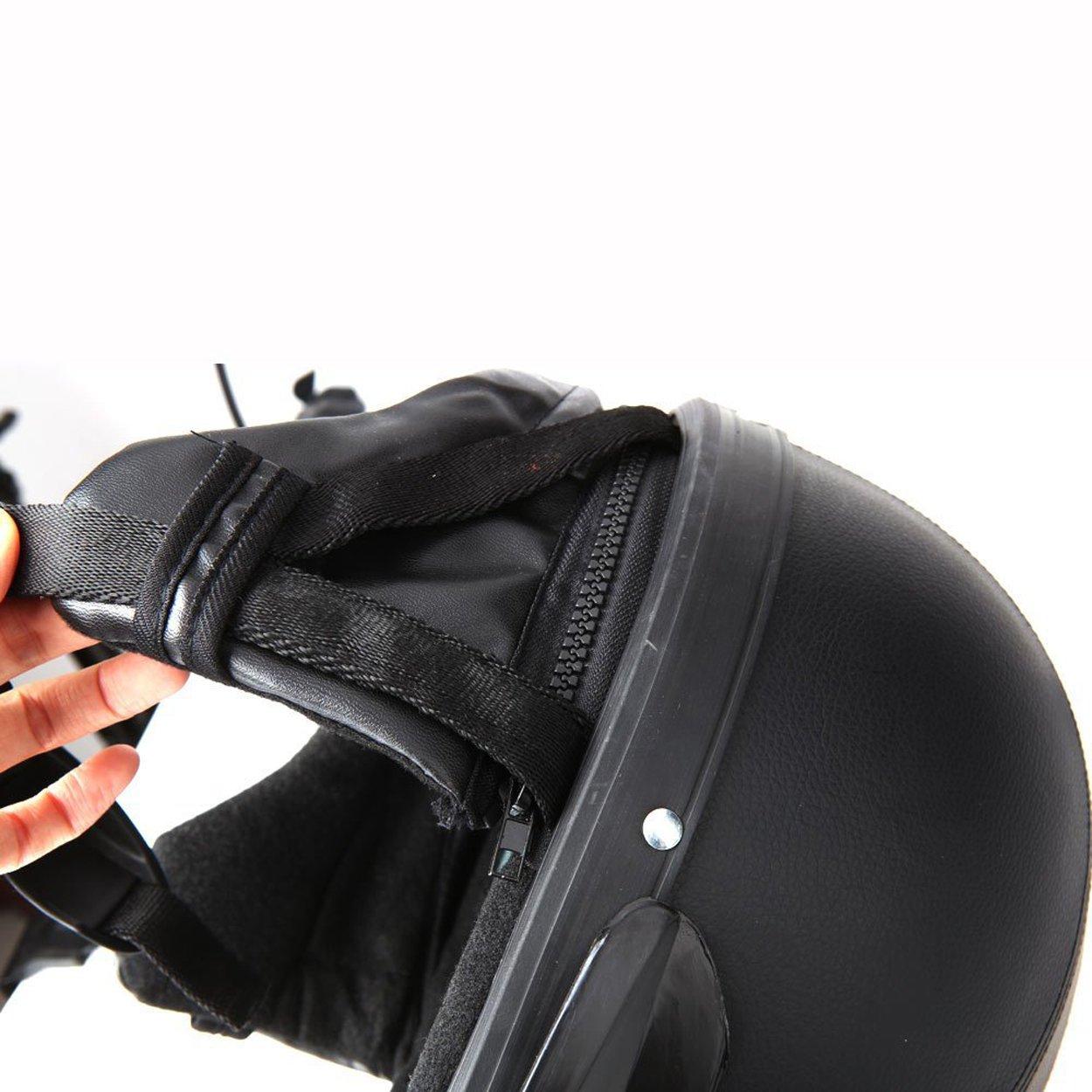 FREESOO Casco Abierto Protecci/ón para Motocicleta Scooter Bicicleta 54-60cm Ajustable con Visera UV Gafas Bufanda