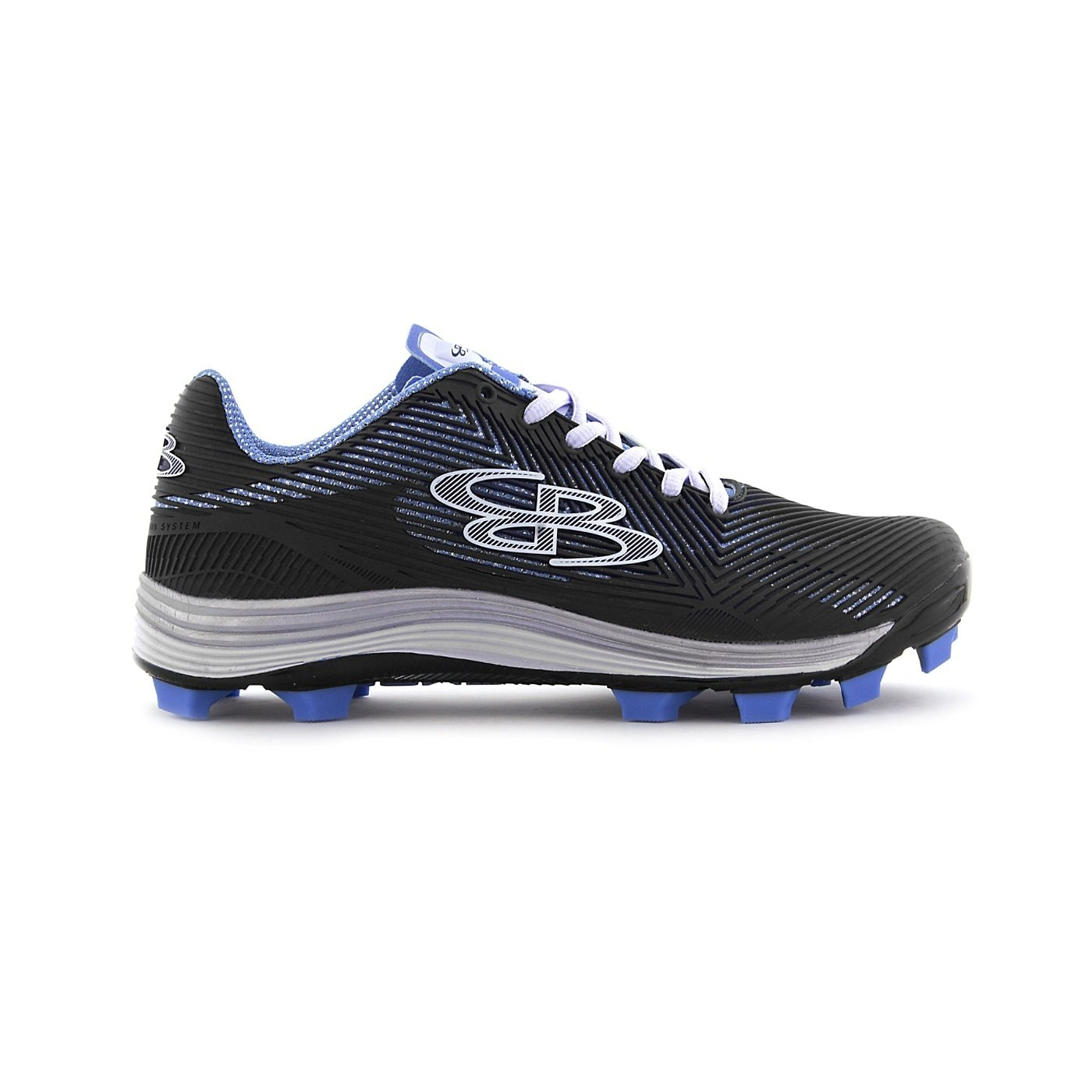 Boombah Women's Spotlight Molded Cleat Black/Columbia - Size 9.5 by Boombah