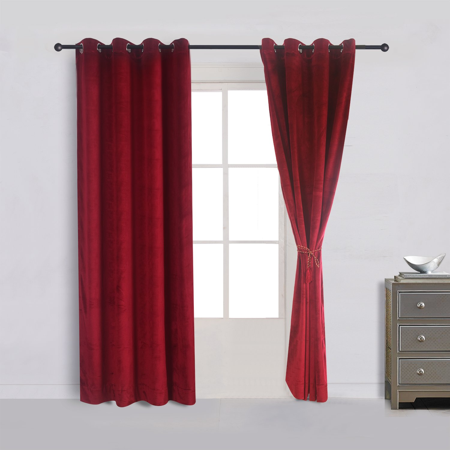 Cherry Home Set of 2 Classic Blackout Velvet Curtains Panels Home Theater Grommet Drapes Eyelet 52Wx96L-inch Red(2 panels)Theater| Bedroom| Living ...