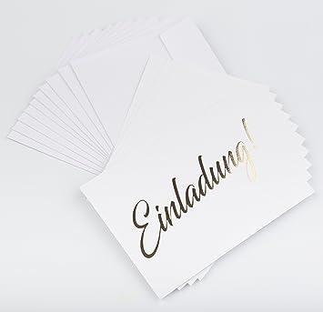 Karte Taufe Einladung.Einladungskarte Gold 10 Einseitige Karten Inkl 10 Umschlägen Stilvolle Schlichte Einladung Für Hochzeit Geburt Baby Taufe Geburtstag Jubiläum
