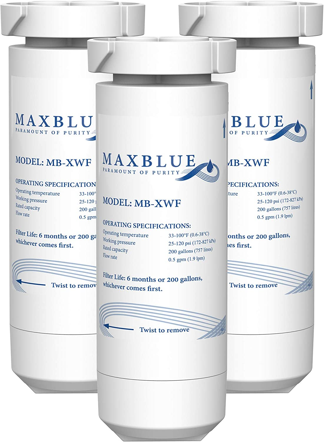 Maxblue XWF Refrigerator Water Filter, Compatible with GE GNE27JSMSS, GNE27JMMES, GNE27ESMSS, GNE27JGMBB, GNE27JGMWW, Pack of 3