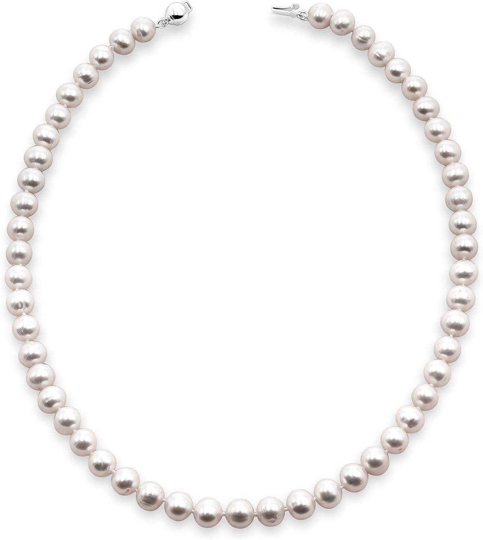 Secret & You Collar de Perlas de Mujer cultivadas de Agua Dulce 45 cm - Perlas Semi Redondas Disponible en 5-5.5 mm, 6-6.5 m, 6.5-7 mm y 7.5-8 mm - Cierre de Plata de Ley Rodiada 925 milésimas