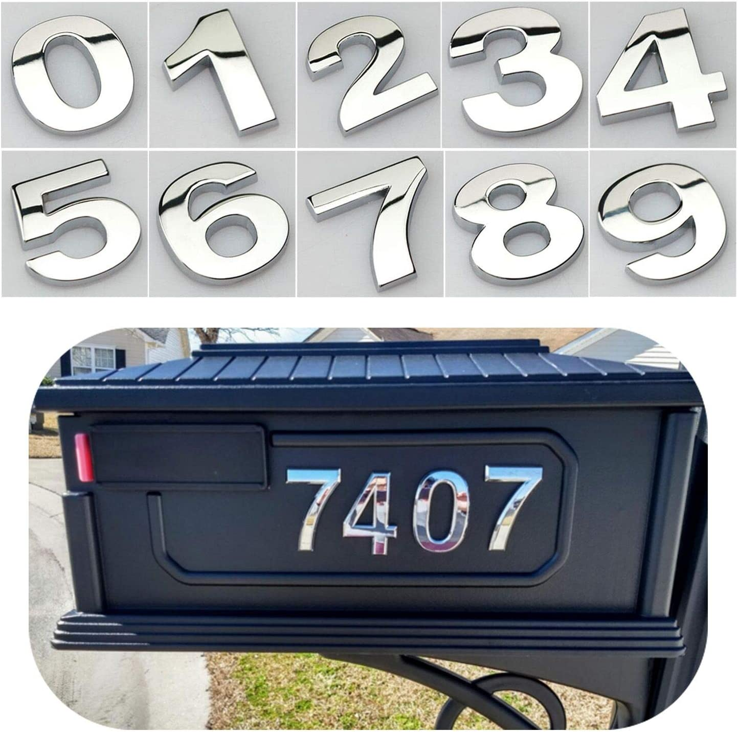 Double Silver Letter R Street Door Numbers Mailbox Numbers Self-Stick Address Signs for Apartments 2.75 Inch Adhesive House Numbers