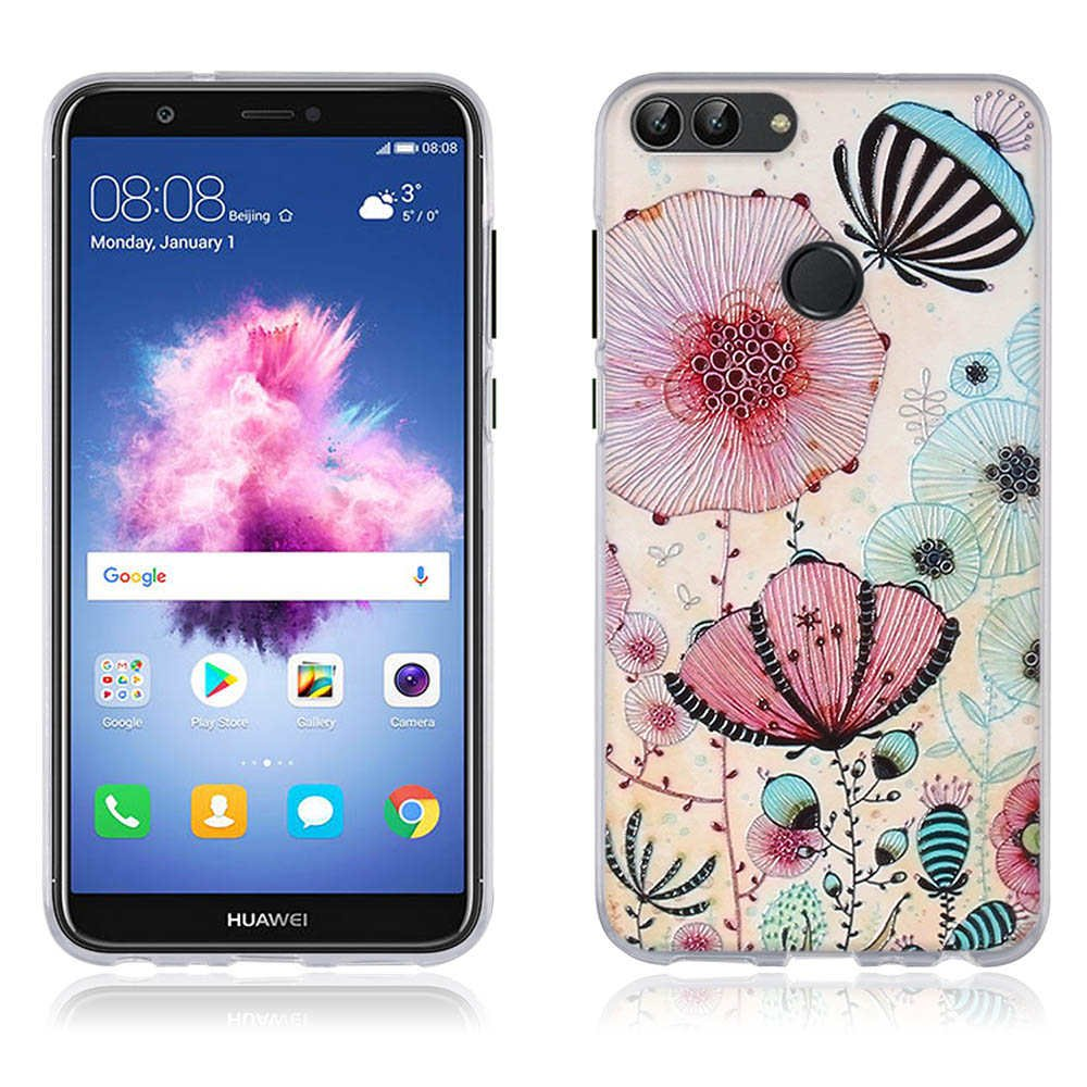 Funda Huawei P smart/ Enjoy 7S - FUBAODA - 3D Realzar, Hermoso Dibujo de Flor de Loto, Gel de Silicona TPU, Fina, Flexible, Resistente a los Arañ azos en su Parte Trasera, Amortigua los Golpes, Carcasa Protectora Anti-golpes para Huawei P smart/ Enj