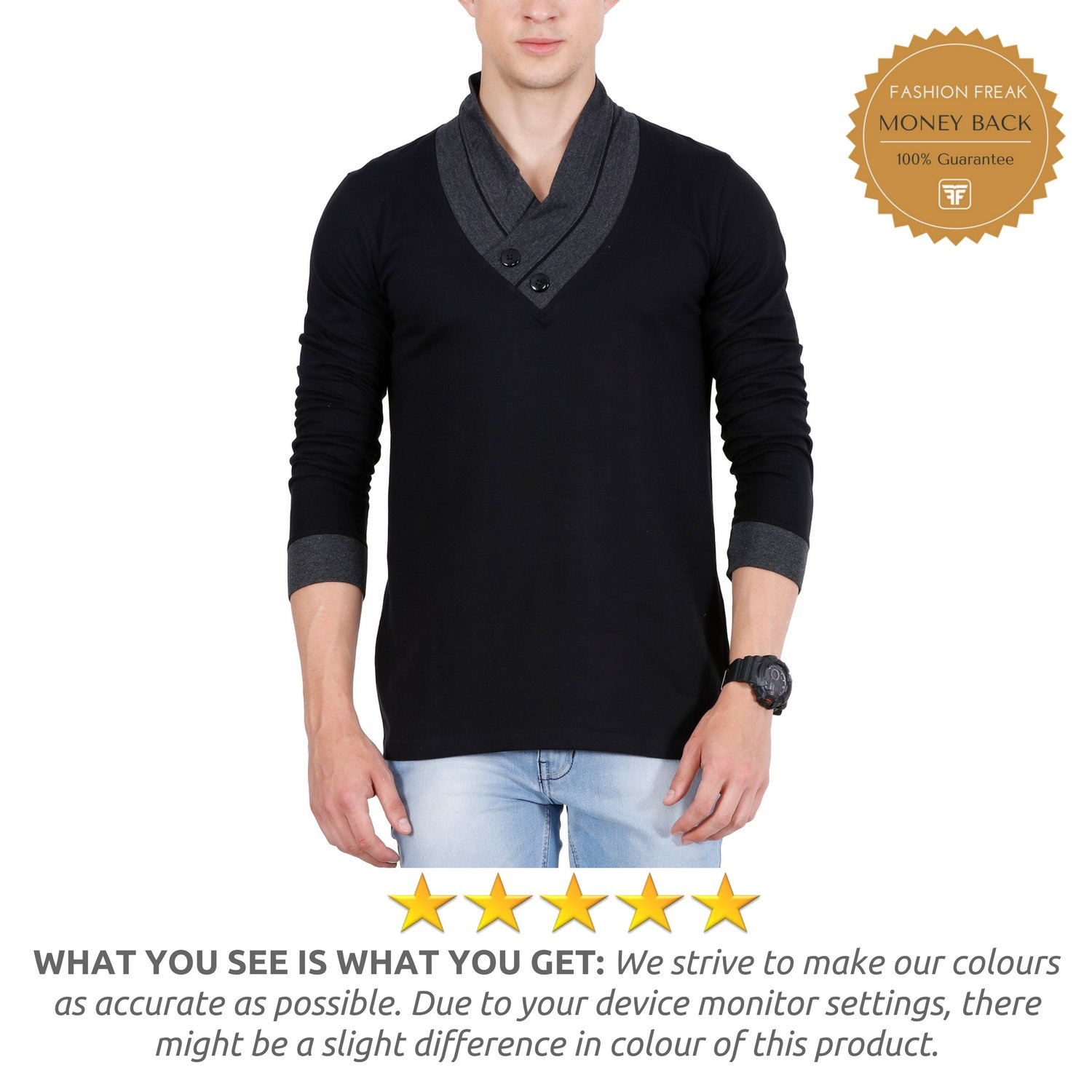 4b1390247b59e1 Fashion Freak Full Sleeves T Shirt for Men V-Neck Cotton Grey Black (FF009)  (Medium): Amazon.in: Clothing & Accessories