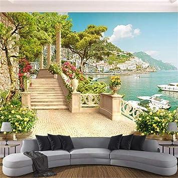 Fotomural Grande 3D Wallpaperspapel Pintado Mural Personalizado Jardín Terraza Escaleras Paisaje Fondo Pared Sala De Estar Decoración Del Dormitorio, 200Cmx140Cm: Amazon.es: Bricolaje y herramientas