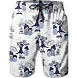 Mens Hokusai Japan Ink Whale Quick Drying Breathable Short Pants Swim Trunks