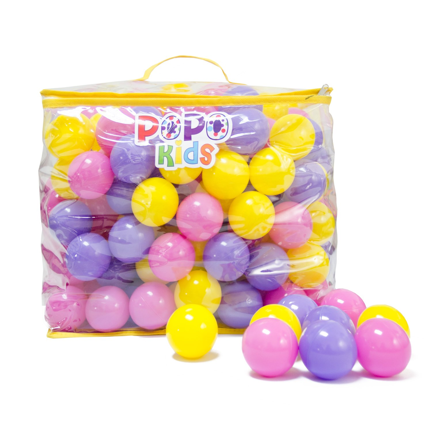 PoPo Kids Pack of 200 Plastic Play Balls, Phthalate Free BPA Free Crush Proof, with Durable Storage Zipper Bag (Princess)