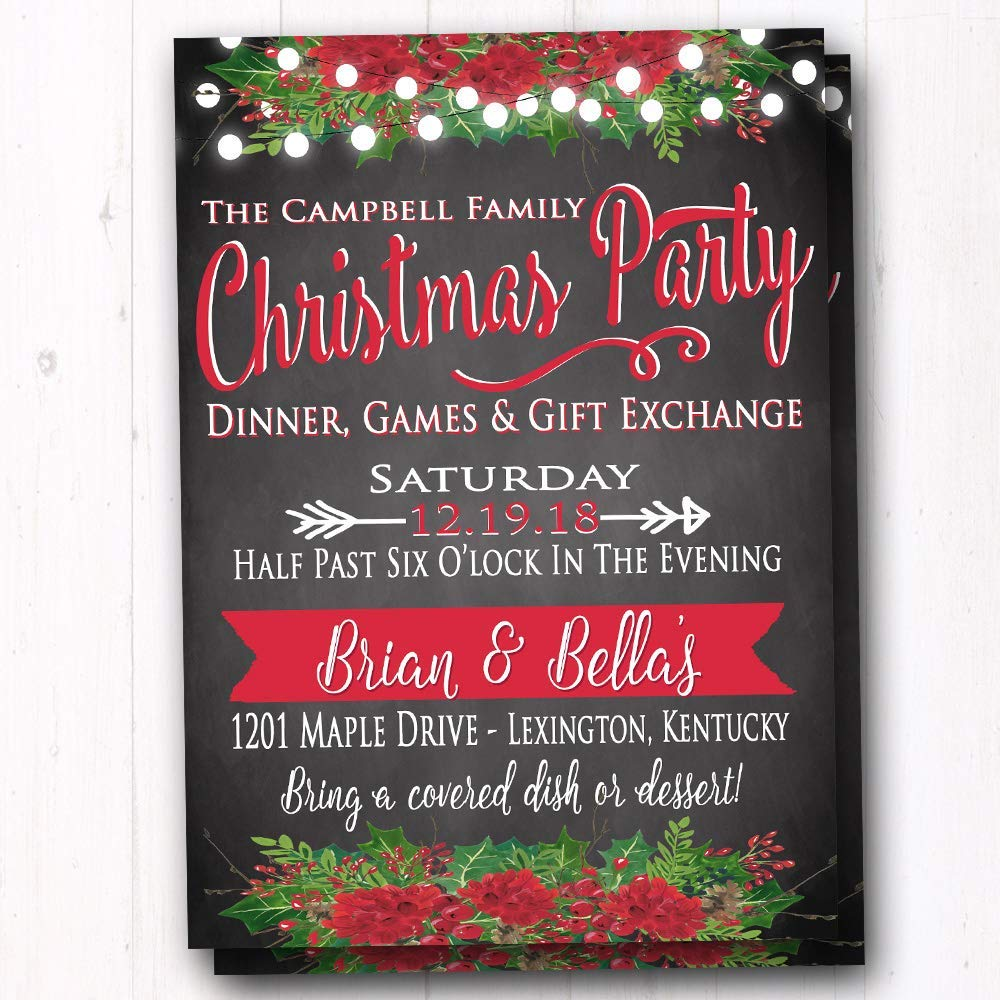 Amazon.com: Rustic Christmas Party Invite - Holiday Dinner Party ...