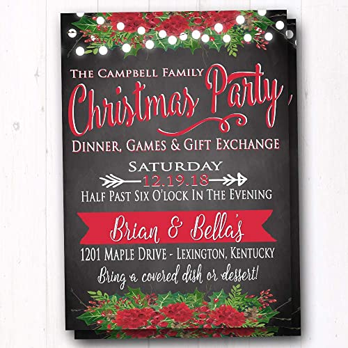 Amazon Com Rustic Christmas Party Invite Holiday Dinner