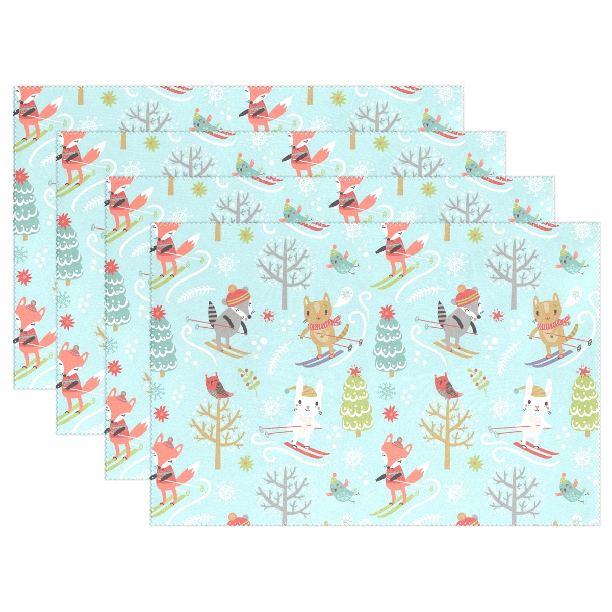 Top Carpenter Christmas Tree And Cute Animals Place Mats Washable Heat Resistant Polyester Table Mats 12'' x 18'', Set of 4