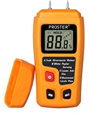 Proster Digital Wood Moisture Meter Handheld Moisture Tester with 2 Test Probe Pins and LCD for Wood Walls Firewood Concrete Paper