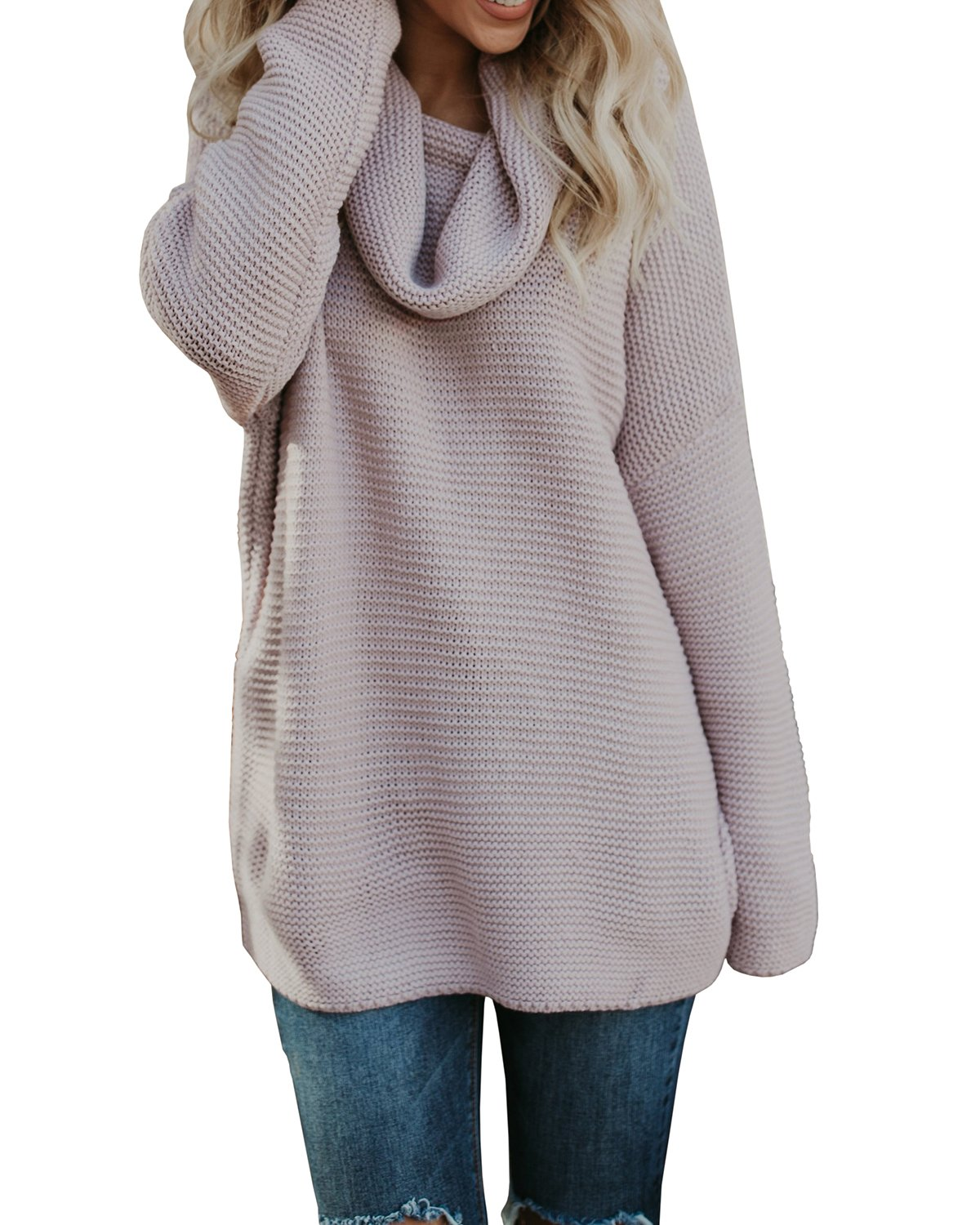 Pxmoda Women's Casual Long Sleeve Turtleneck Knit Sweater Chunky Oversized Pullover Jumper (XL, Pink)