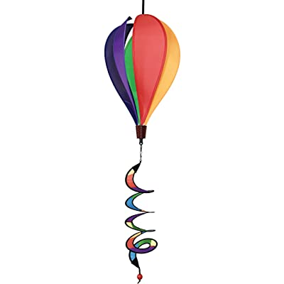 In the Breeze 6 Panel Rainbow Hot Air Balloon - Wind Spinner Includes Curlie Tail - Colorful Kinetic Hanging Decoration : Garden & Outdoor